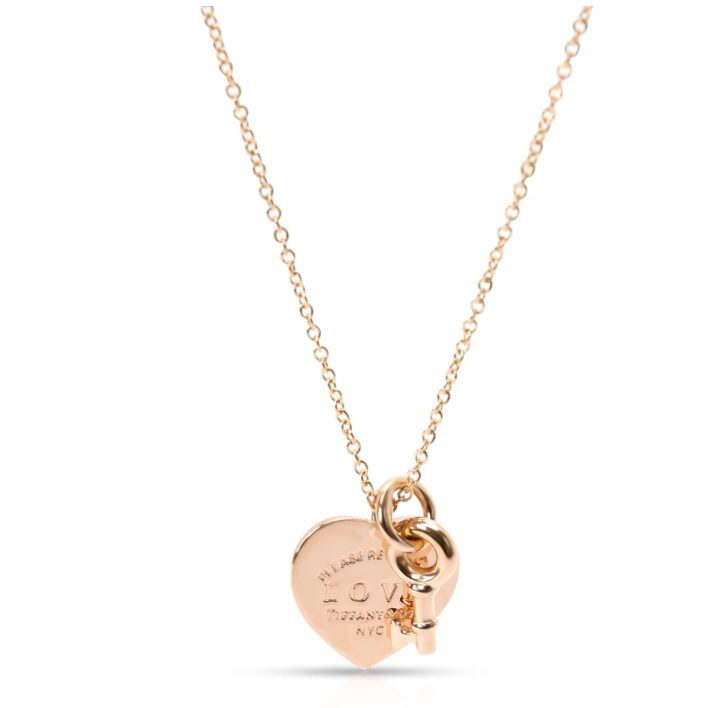 Tiffany & Co. Return to Tiffany Love Heart Tag Key Necklace in 18K Rose Gold