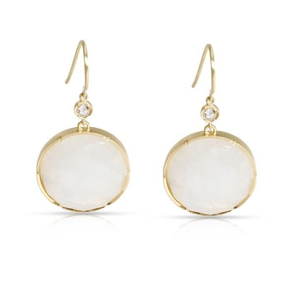 Irene Neuwirth Moonstone Drop Earrings with Scallop in 18K Yellow Gold