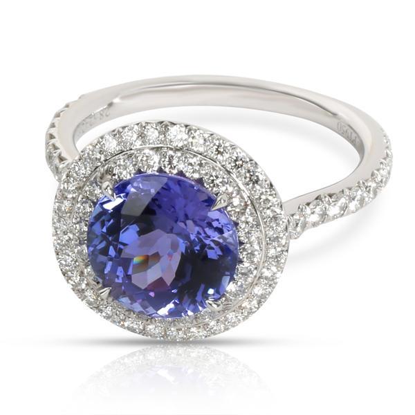 Tiffany & Co. Soleste Tanzanite Diamond Halo Ring in Platinum 0.48 CTW