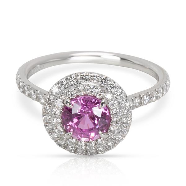 Tiffany & Co. Soleste Pink Sapphire & Diamond Ring in Platinum