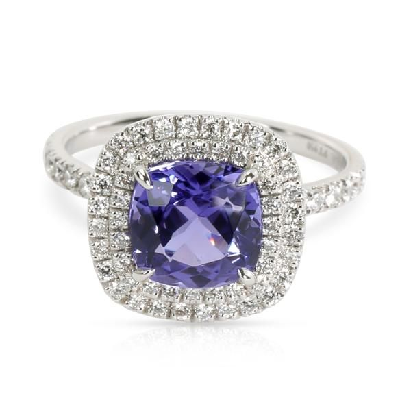 Tiffany & Co. Soleste Tanzanite & Diamond Halo Ring in Platinum (2.45 CTW)