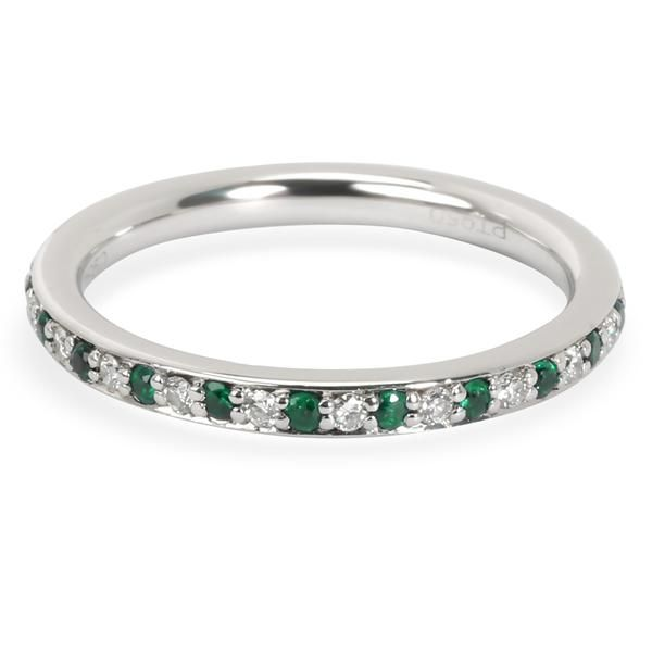 Alternating Diamond and Emerald Stackable Eternity Band in Platinum 0.18 ctw