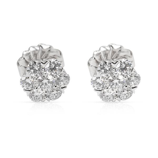 Van Cleef & Arpels Diamond Large Fleurette Earrings in 18K White Gold (1.25 CTW)