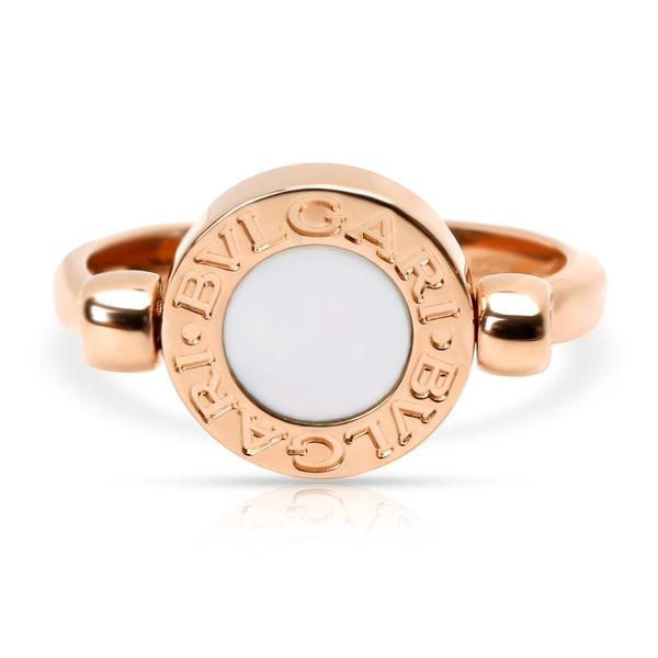Bulgari Flip Ring with Mother-of-Pearl & Onyx in 18K Rose Gold