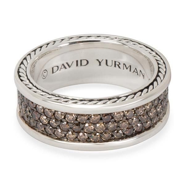 David Yurman Three Row Cognac Diamond Men's Ring in Sterling Silver