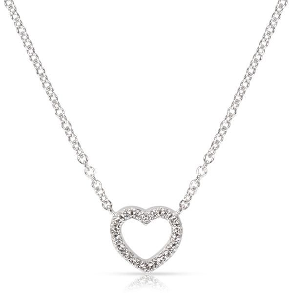 Tiffany & Co. Metro Mini Diamond Heart Necklace in 18K White Gold (0.15 CTW)