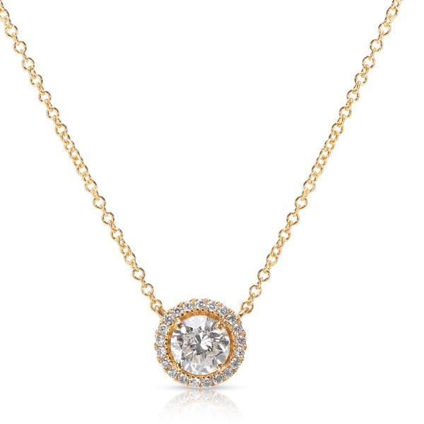Diamond Halo Pendant in 18K Yellow Gold (0.85 CTW)