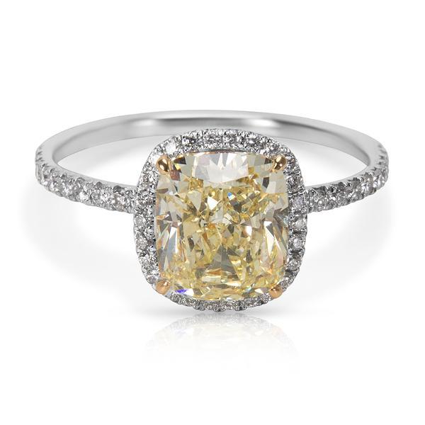 GIA Certified Fancy Light Yellow Cushion Cut Diamond Engagement Ring (2.48 CTW)