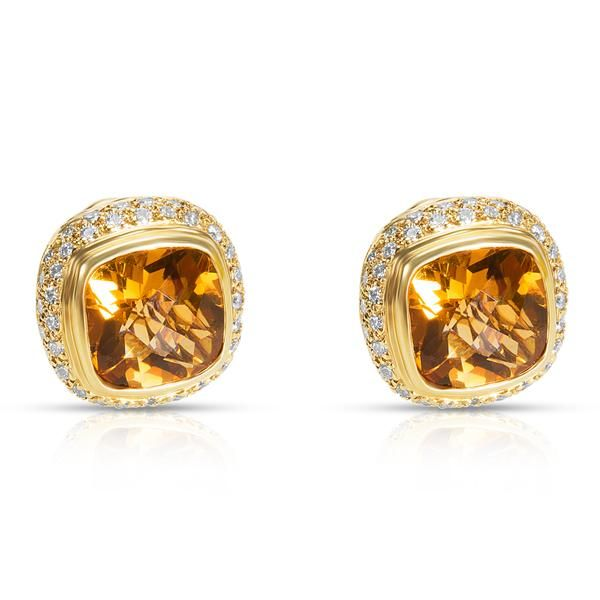 BRAND NEW Citrine Earrings in 18K Yellow Gold with Diamonds (1.30 CTW)