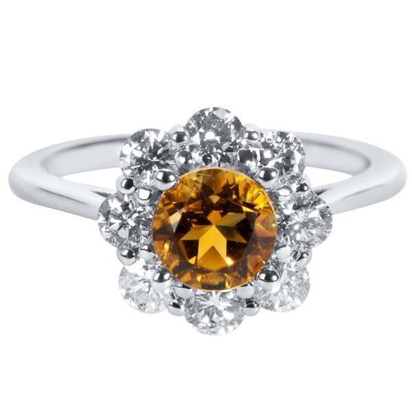 BRAND NEW Citrine & Diamond Halo Ring in 14K White Gold (0.75 CTW)