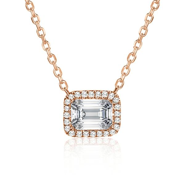Rock & Divine Empowered Emerald Diamond Necklace in 18K Rose Gold F VS 0.66CTW