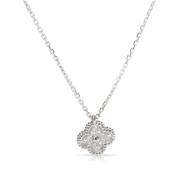 Van Cleef & Arpels Diamond Sweet Alhambra Necklace in 18K White Gold (0.08 CTW)