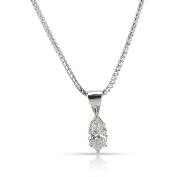 IGI Certified Marquise Diamond Solitaire Pendant 14K White Gold G VS1 1.06 CTW