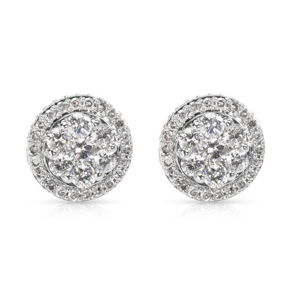 Round Diamond Cluster Earrings in 10k White Gold (2.00 CTW)