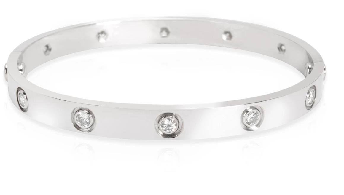 Cartier Diamond LOVE Bracelet in 18K White Gold (Size 17)