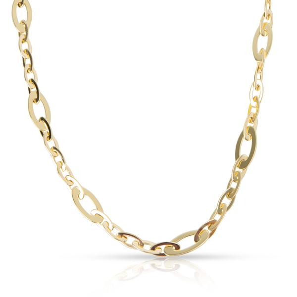 Roberto Coin Chic & Shine Oval Link Necklace in 18K Yellow Gold