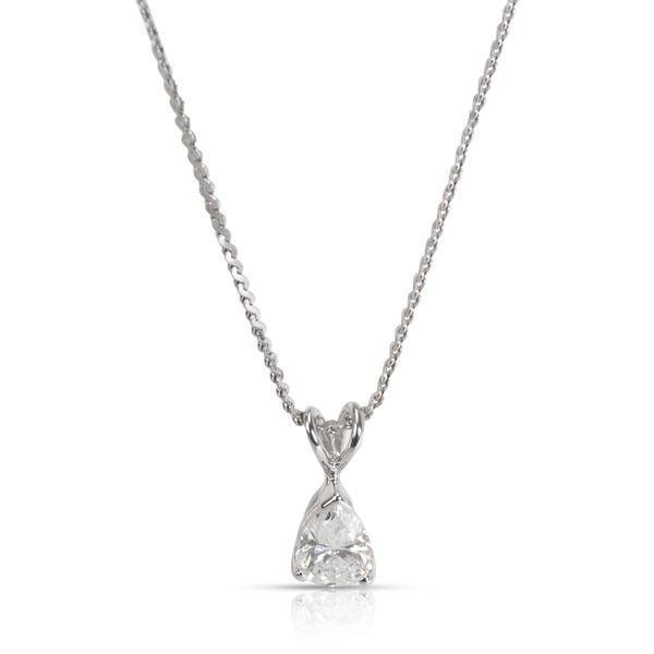Solitaire Pear Shape Diamond Pendant in 14K White Gold H VS 0.55 CTW