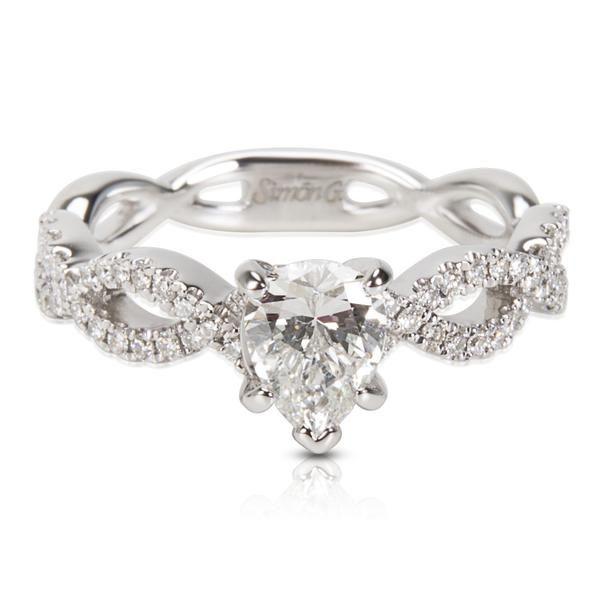 Simon G Pear Shape Diamond Engagement Ring in 18KT White Gold (0.98 CTW)
