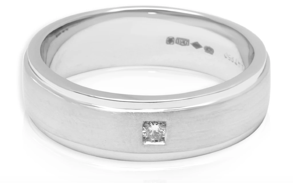 Men's Brushed Diamond Wedding Band in Platinum 0.05 CTW