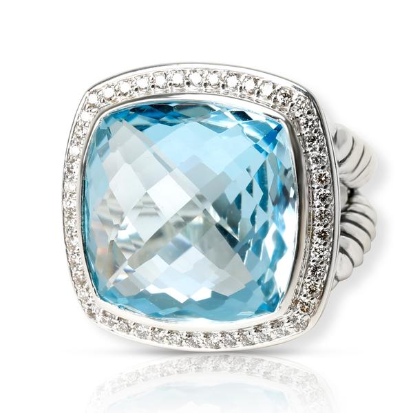 David Yurman Albion Blue Topaz Diamond Ring in Sterling Silver Blue 0.42 CTW