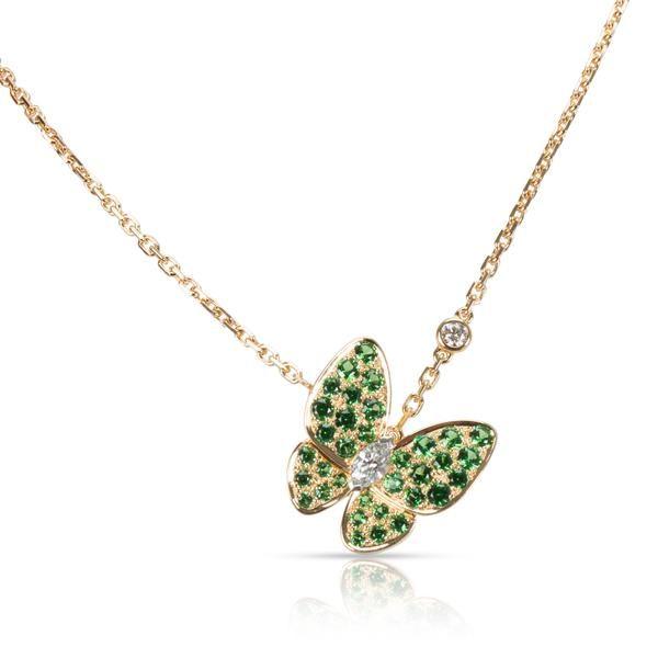 Van Cleef & Arpels Two Butterfly Diamond Tsavorite Necklace in 18K Gold 0.2 CTW