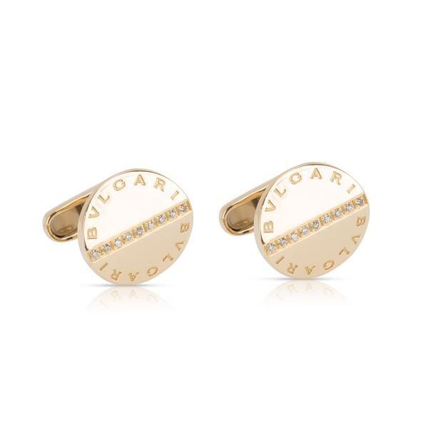 Bulgari Diamond Cufflinks in 18K Yellow Gold (0.16 CTW)