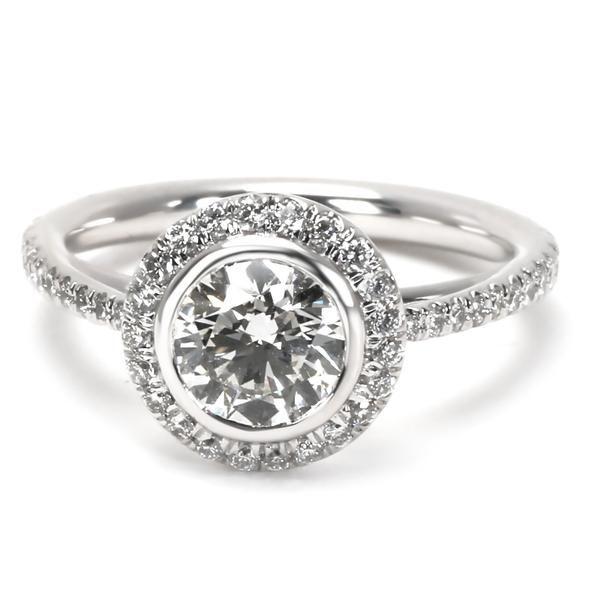 James Allen Halo Diamond Engagement Ring in Platinum GIA H VVS2 1.18 CTW