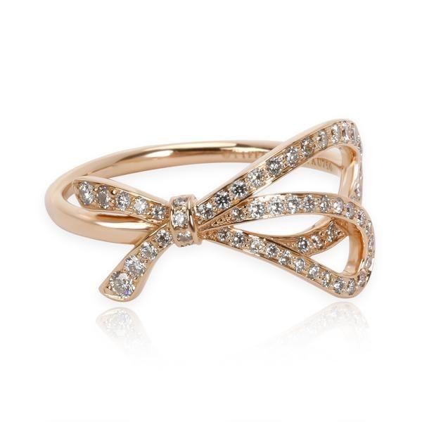 Tiffany & Co. Diamond Bow Ring in 18K Rose Gold 0.32 CTW