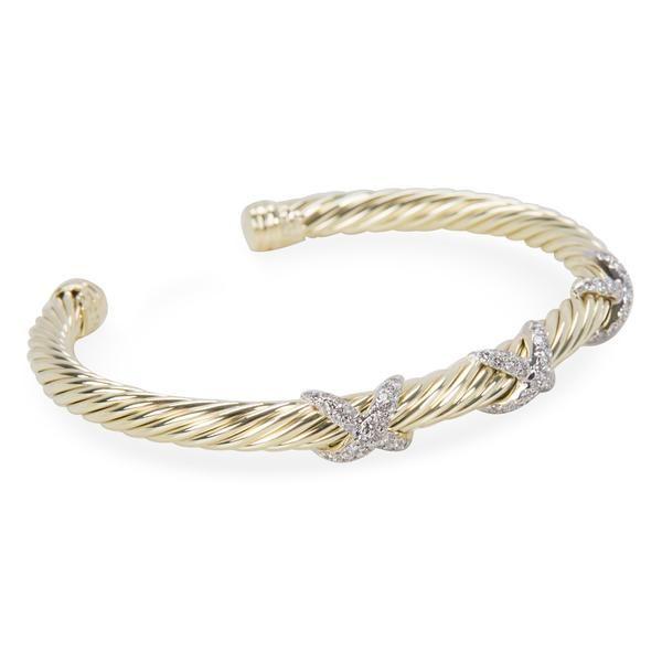 David Yurman Diamond X Cable Bangle in 14K Yellow Gold (0.45 CTW)