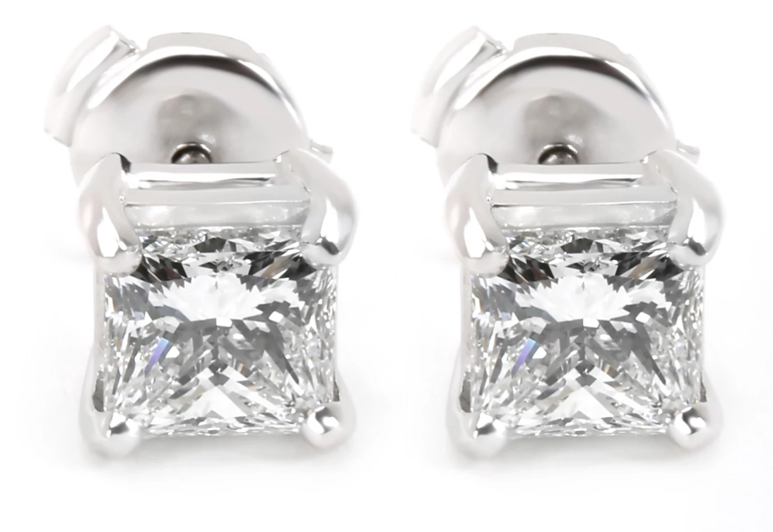 Blue Nile Princess Cut Diamond Stud Earrings in Platinum GIA E VVS1 1.88 CTW