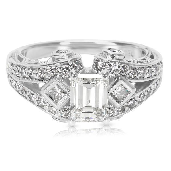 IGI Certified Emerald Cut Diamond Engagement Ring in 18K White Gold (1.67 CTW)