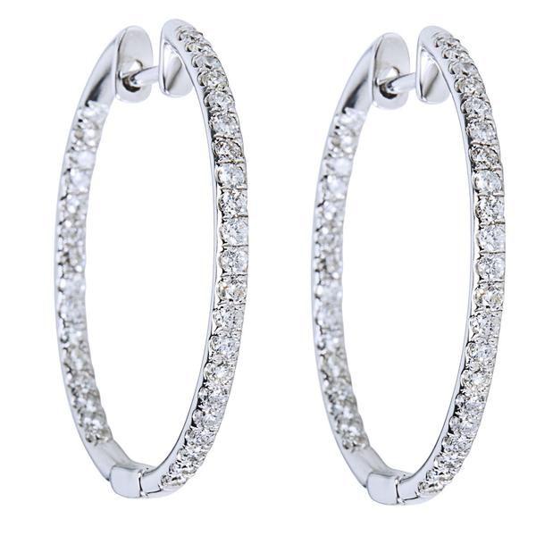 Diamond Inside Out Hoop Earrings in 14K White Gold (1.00 CTW)