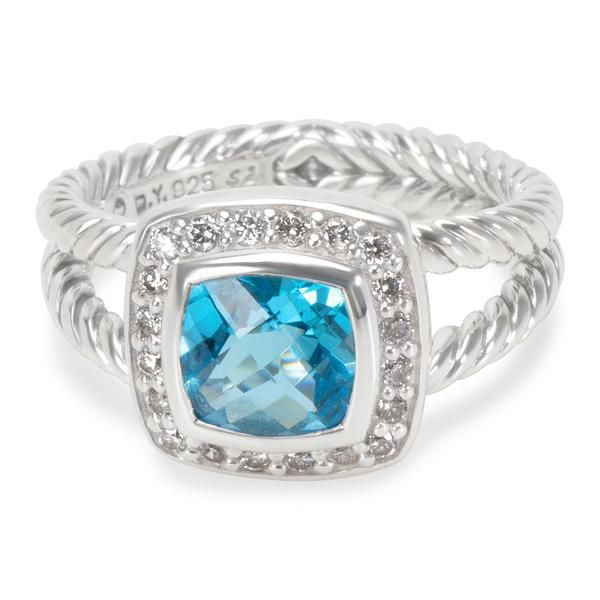 David Yurman Petite Albion Blue Topaz & Diamond Ring in Sterling Silver