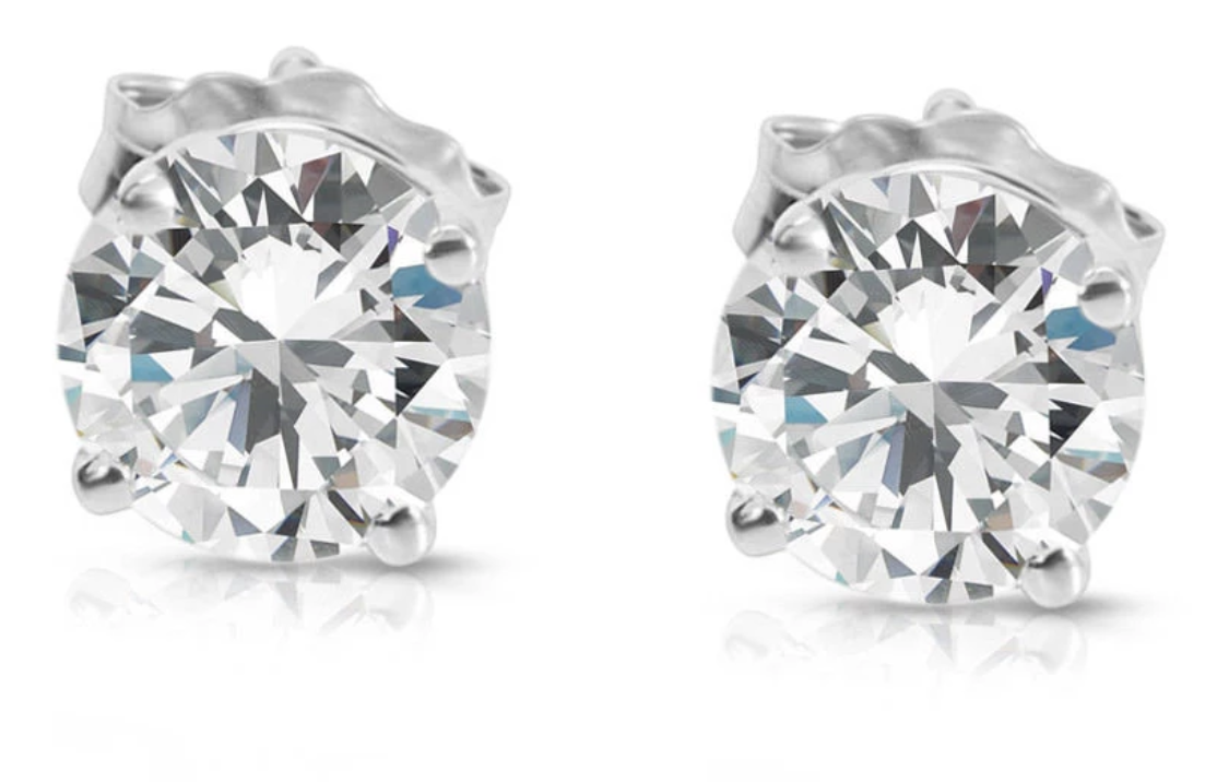 GIA Certified Diamond Stud Earrings in 14K White Gold 2.06CTW G I1