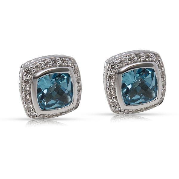 David Yurman Albion Blue Topaz & Diamond Earrings in Sterling Silver