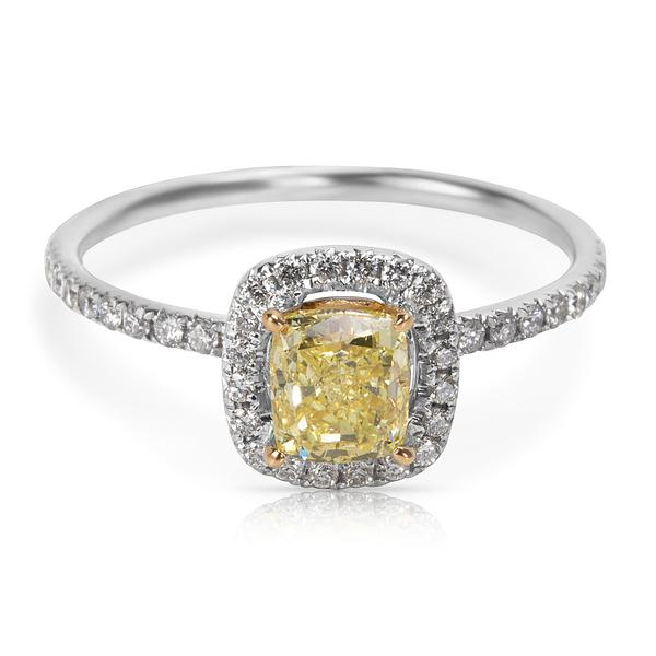 GIA Certified Fancy Intense Yellow Radiant Cut Diamond Engagement Ring (1.14 CTW