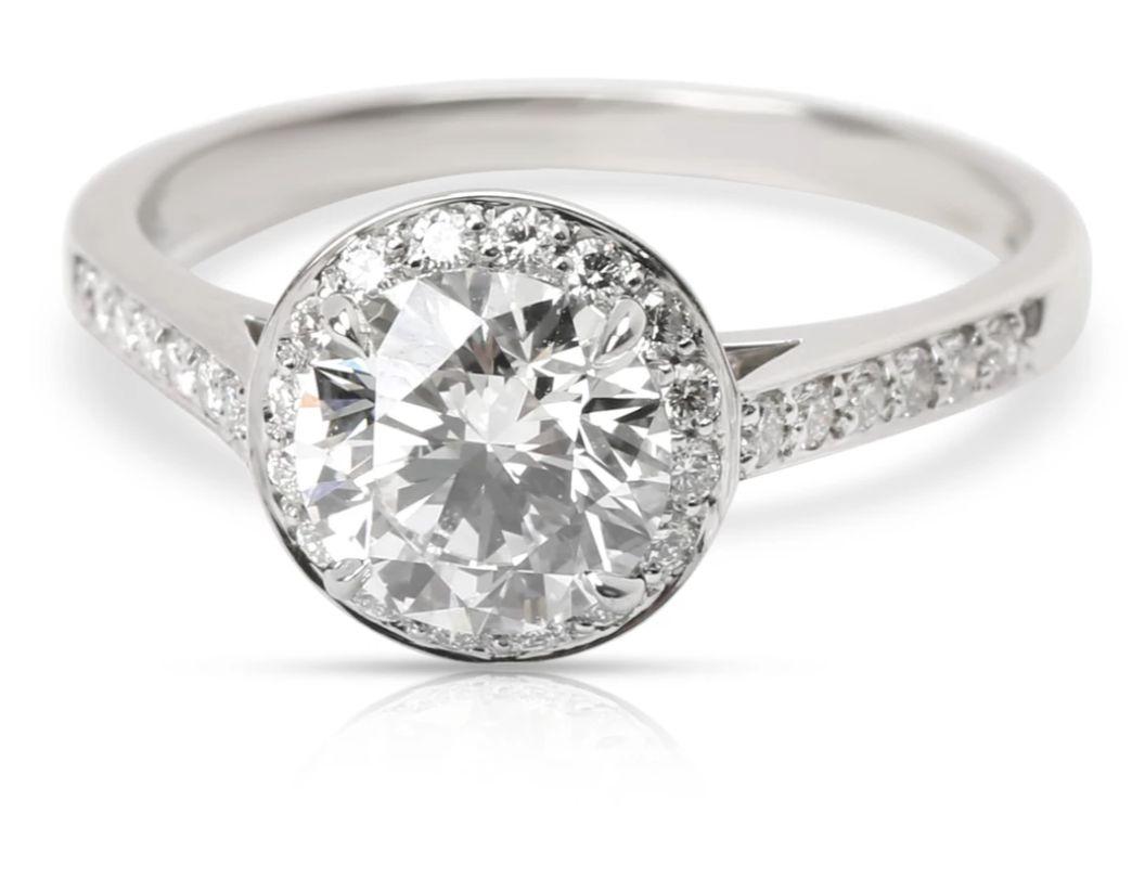 Tiffany & Co. Diamond Halo Engagement Ring in Platinum   (1.30 ct H/VVS1)
