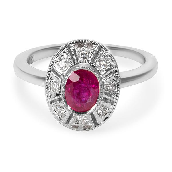 BRAND NEW Diamond & Ruby Vintage Style Ring in 18k White Gold (0.10 CTW)