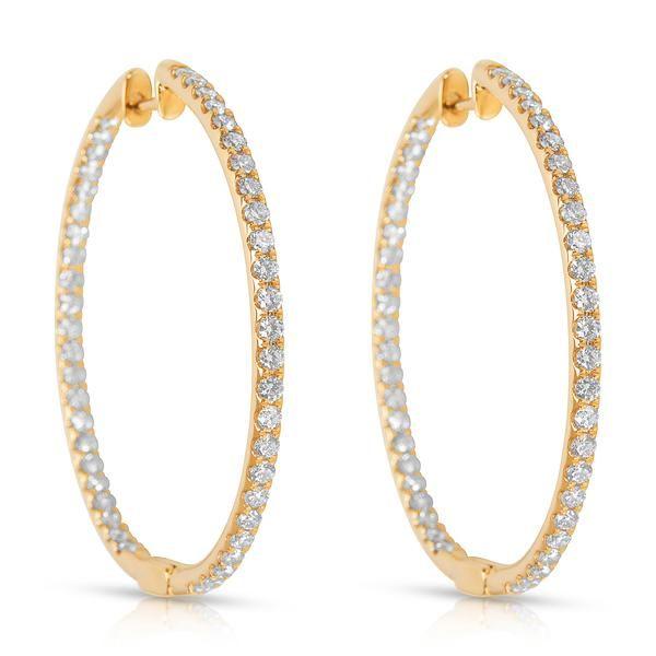 BRAND NEW Diamond Hoop Earrings in 14K White Gold (2.00 CTW)