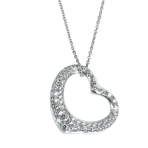 Tiffany & Co Elsa Peretti Diamond Heart Necklace in Platinum (2.00 CTW)