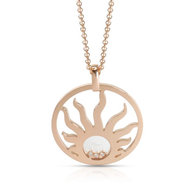 Chopard Happy Sun Diamond Pendant in 18K Rose Gold 0.09 CTW