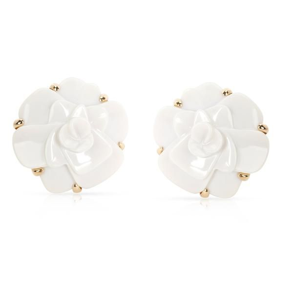 Chanel Camelia White Agate Flower Earrings in 18K Yellow Gold