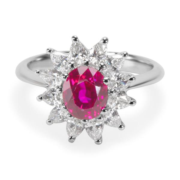 Tiffany & Co. GIA Certified Burmese Ruby & Diamond Ring in Platinum 2.13 ctw