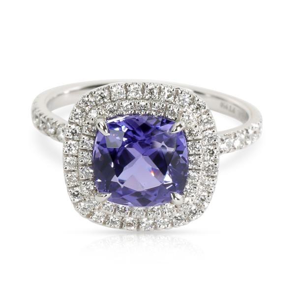 Tiffany & Co. Soleste Tanzanite & Diamond Halo Ring in Platinum (2.45 CTW)