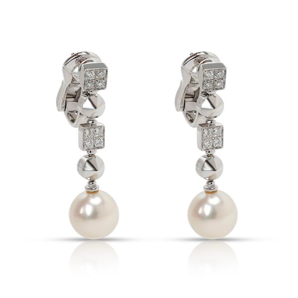 Bulgari Lucea Pearl & Diamond Drop Earring in 18K White Gold 0.5 CTW