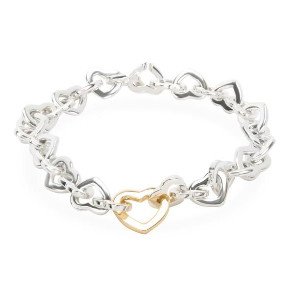 Tiffany & Co. Interlocking Hearts Bracelet in Yellow Gold/Sterling Silver