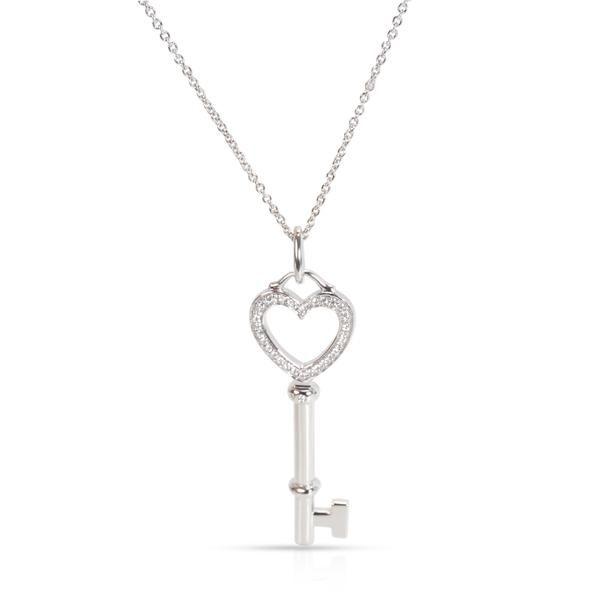 Tiffany & Co. Medium Key Diamond Necklace in 18K White Gold 0.12 CTW