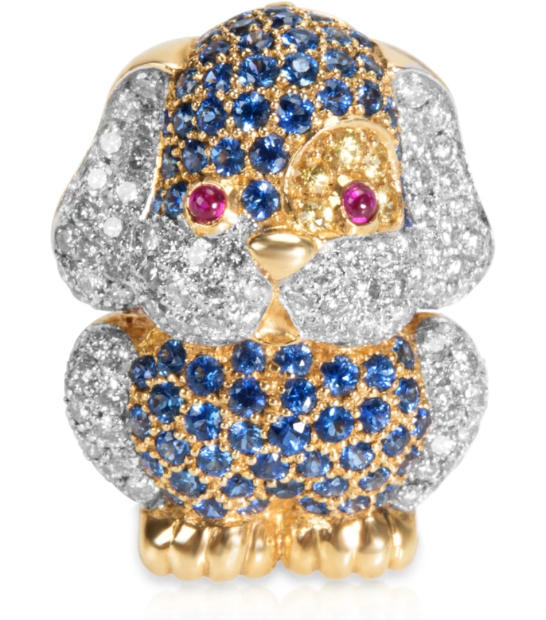 Diamond & Sapphire Puppy Pendant in 18k Yellow Gold (1.91 CTW)