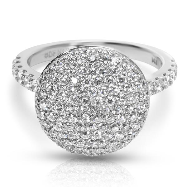 BRAND NEW Diamond Pave Round Top Fashion Ring in 14K White Gold (1.34 CTW)