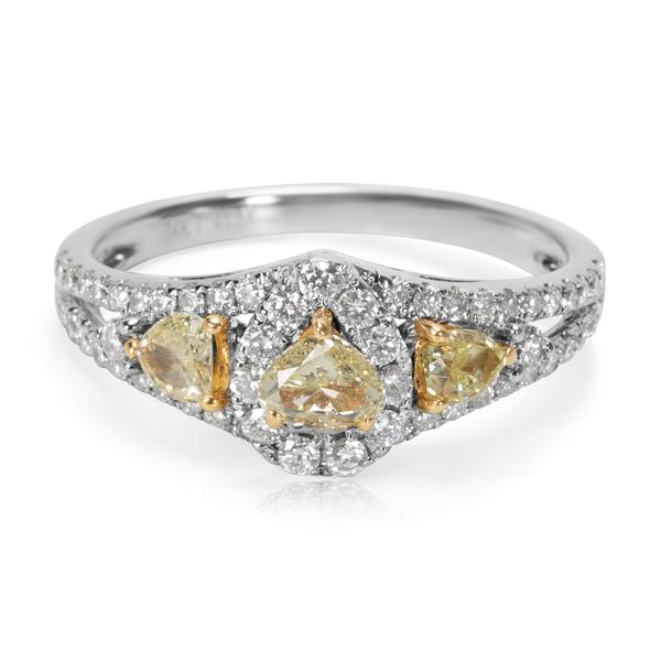 BRAND NEW Heart Shape Fancy Yellow Diamond Halo Ring in 14K White Gold 1.00 CT